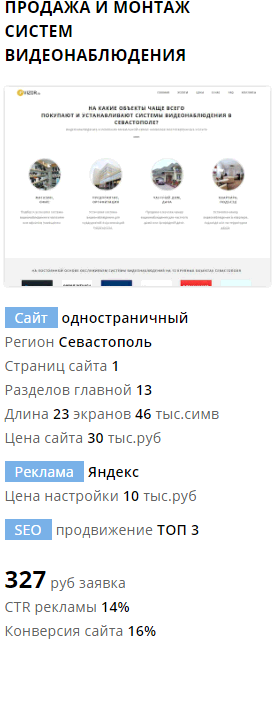 Пример одностраничного сайта по видеонаблюдению