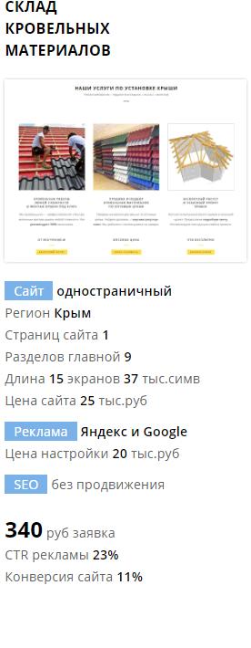 Создание сайта и рекламы кровельные материалы