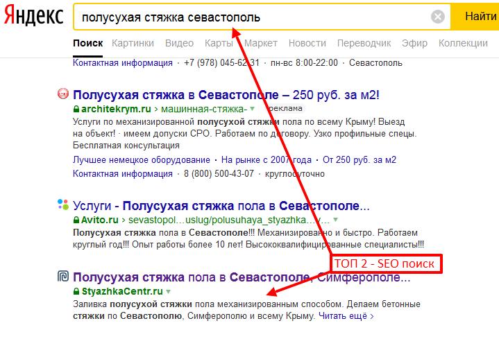 Пример продвжиения сайта в ТОП