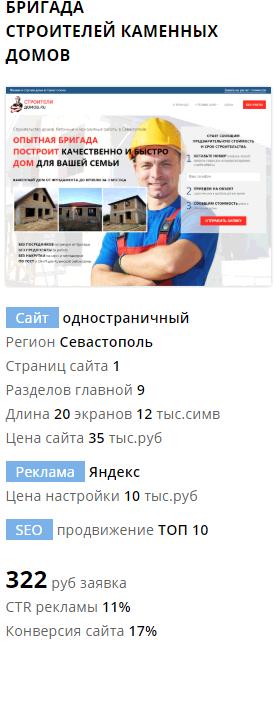 Пример сайта и рекламы по строительству домов под ключ